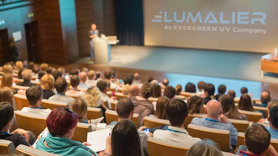 University auditorium with students and presenter